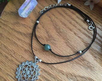 Flower Of Life & Healing Crystal Customizable Double Wrapped Choker Necklace!