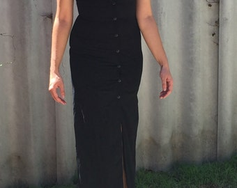 Black shirt dress maxi