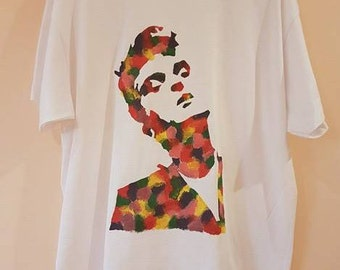 XL Morrissey The Smiths Hand-Painted Abstract Floral T-Shirt