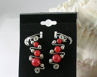 Sterling Silver and 3A Coral Ear Cuff - Sacred Spirals