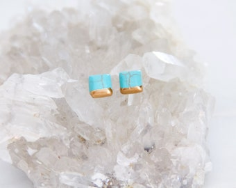 Square Turquoise, Hand Gilded, Tiny, Post Earrings, Square Studs