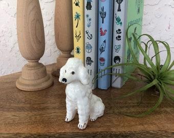 Vintage Mini Ceramic Poodle Figurine/ Kitch Home Decor