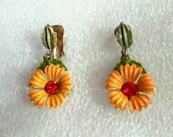 Vintage Orange Hand Painted Flower Earrings,  Mid Century Daisy Drop Earrings, Accessories, Boutique