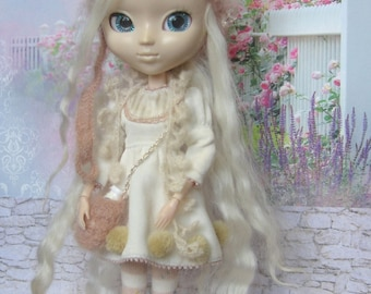 Pullip hat cat light brown mohair pullip helmet knitted hat for Pullip doll pullip outfit pullip chapeau beanie handmade