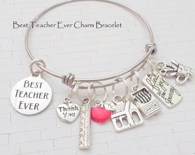 Teacher Gift, Gift for Teacher, Christmas Gift for Teacher, Teacher Charm Bracelet, Personalized Gift for Women, Graduation Gift for Teacher