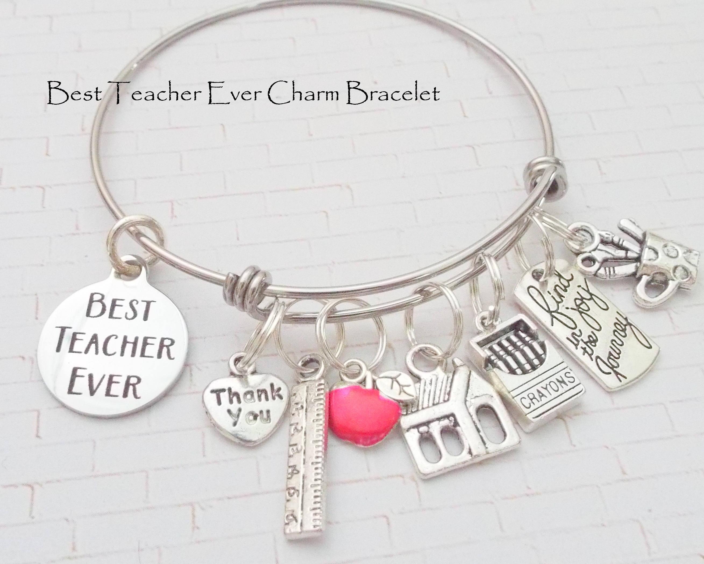 Teacher Personalised Engraved Charm Bracelet Women's 2bFp2VD
