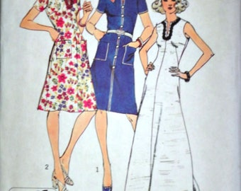 Vintage 70's Simplicity 6339 Sewing Pattern, Misses Jiffy Dress in Two Lengths, Size 10, 32 1/2 Bust, Uncut FF, Retro 1970's Fashion