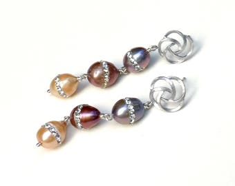 Multicolor Pearl Rhinestone Dangle Drop Silver Post Earrings, for Her Under 100, One of a Kind,  Free Gift Wrap Girlfriend Sister Mom Gift