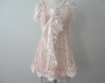 Vintage Inspired Lace Top, Lacy Decorated Top, Bohemian, Victorian Look Lace Blouse, Embellished Top, Pink Lace, Altered Couture, Blush