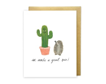 We Make a Great Pair - Friendship Illustrated Greeting Card - Just Because Friends Card