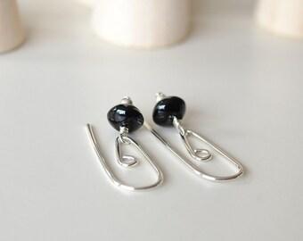 Black Onyx Earrings, Silversmith Earrings, Silver Spiral Earring, Interchangeable Earrings