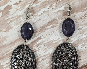 Assemblage earrings- handmade earrings- shoulder duster- black vintage earrings- gift for mom- vintage upcycled jewelry- purple