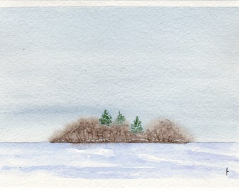 Original watercolor painting  SFA greeting card FROZEN lake island