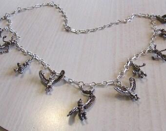 "Sterling Silver Kachina Charm Necklace  20 1/2"" Long"