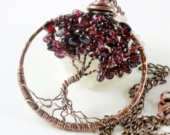 Tree of Life Necklace, Garnet necklace, Copper wire work, wire wrapped, talisman necklace, January birthstone, holiday gift for her
