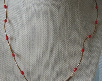 Red Coral Necklace,  Red Coral and Gold Necklace,  Wavy Coral Necklace