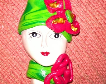 Red and green 1920s style lady face brooch