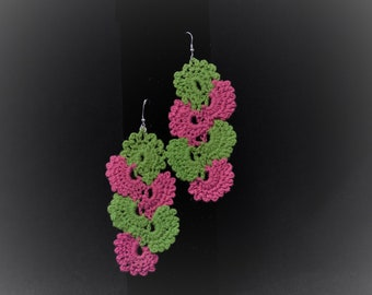 Pink & Green Fan Cascade Earrings