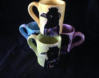 Raven mug in yellow
