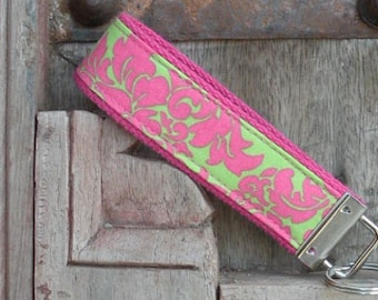 Key Fob/Keychain/Wristlet-Pink and Green Damask-READY TO SHIP