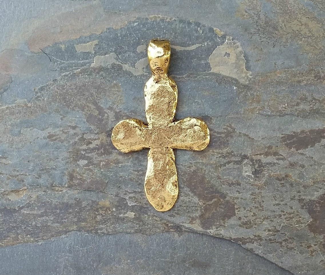 Große Gold Kreuz Anhänger gehämmert Boho Antik Gold Zinn