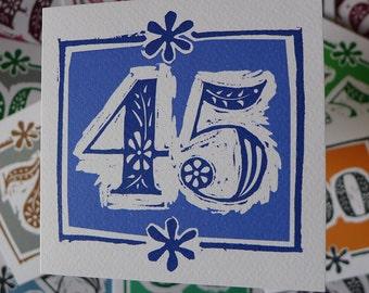 45th Birthday Card Or Sapphire Wedding Anniversary