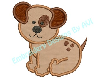 Applique Puppy Dog II Machine Embroidery Designs 4x4 & 5x7 Instant Download Sale