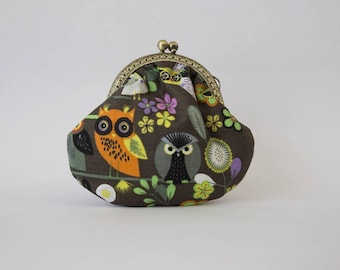 Purse retro owls cotton and colorful flowers