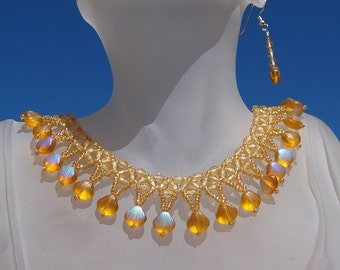 Beaded Drop Necklace in Irridesent Amber with Matching Earrings