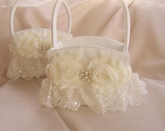 Flower Girl Basket - Ivory Shabby Roses or White Custom Colors Wedding Basket