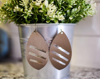 Trendy Faux Leather and Glitter Earrings