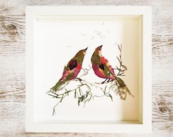Wall Art Print Botanical Original Pressed Flower Love Birds Illustration Bird Prints