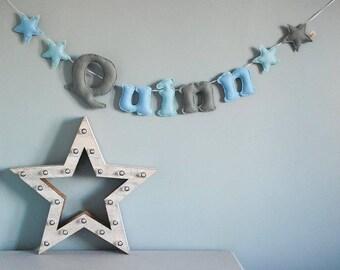 Name bunting - large felt name garland - felt letters - stars - personalised - bunting - child's decor - star - felt - MADE TO ORDER