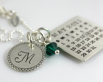 Personalized Silver Calendar Necklace - hand stamped Mark Your Calendar sterling necklace with Fancy Bordered Initial Charm and Crystal