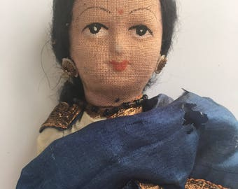 Vintage Cloth Doll Hand Made In India - Hindu Woman Wearing Blue Silk Sari -  Linen and Silk - Hand Painted Face