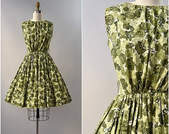 SPRING SALE 1950's Gay Gibson green floral cotton dress • xs