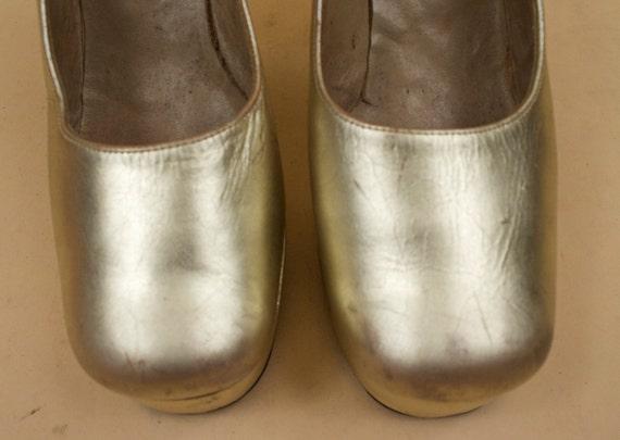 8 N High Leather Heel 70s Rock AS Roll Platform Vtg Chunky Carnaby Shoebiz IS Genuine 7 Metallic 38 5 38 Glam England 5 High Sky GOLD Eu n0RO0x