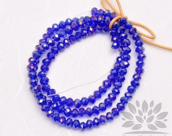 CB100-BU// 4mm Faceted Crystal Rondelle Bead, 1 strand