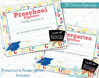 Preschool Graduation Diploma | Kindergarten Graduation | Pre K Class Graduation Diploma Printable, DIY Graduation Ceremony