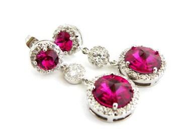Hot Pink Swarovski Earring, Fuchsia Bridal Earring, 5th Anniversary Gift For Her 10 Year Anniversary Gift for Wife Glamorous Wedding Earring