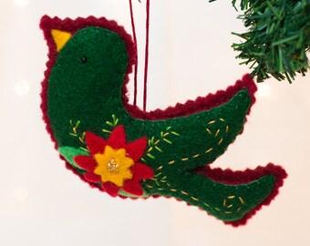 Felt Bird Ornament with Poinsettia