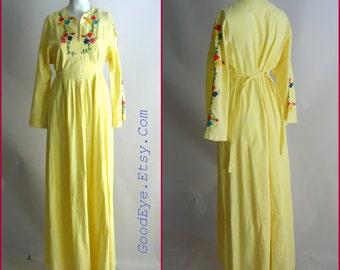 Vintage  Embroidered Bohemian Maxi Dress / size 8 10 12 medium / BABYDOLL Kaftan Yellow Cotton Caftan  / 1960s 70s  CARLOS of Haiti