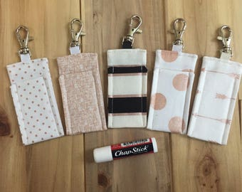 Set of 5 Chapstick Holder - Lip Balm Holder - Lipstick Holder - Chapstick Cozy - Lip Balm Cozy - Lipstick Cozy