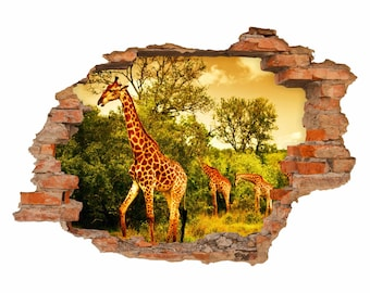 036 Wall Decals Giraffes Africa-hole in the walls