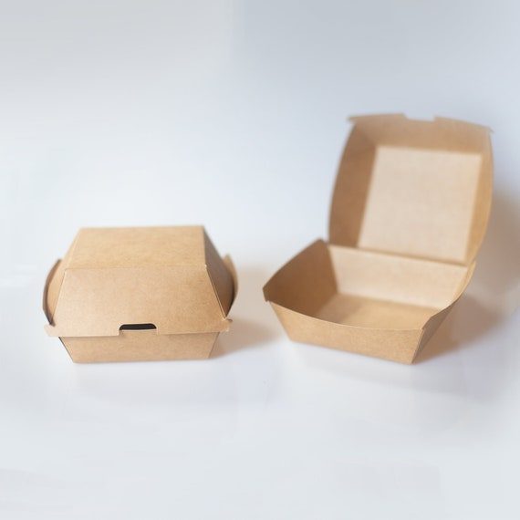 """Kraft Burger Box - 5.7 x 5.3 x 3.1"""" - Hamburger container  - Sandwich Box - Party Takeout Box - Fast Food Container - Wedding Buffet Box"""