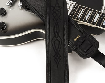 Soft Black Leather Guitar Strap with Black Pinstriping - Stealth