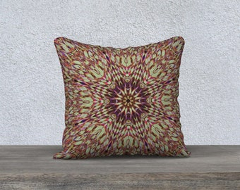 Boho Green and Purple Mandala Throw Pillow Cover, Hippie Style Kaleidoscope Design Cushion Cover, Radiating Stained Glass Pattern Home Decor