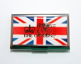 British card case, Business Card Case, Card case, Union Jack, business card holder, Britain, The Queen, Red White Blue (4108)
