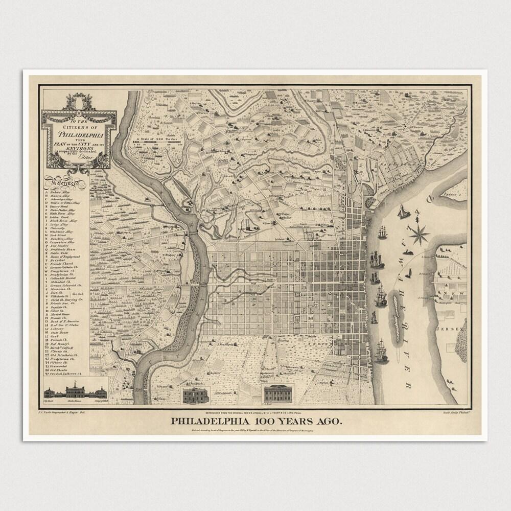 Old Philadelphia Map Art Print 17751875 Antique Map Archival