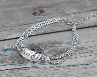 anklet pin silver sterling feather